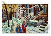 Snowy Day Rue Fabre Le Plateau Montreal Art Winter City Scenes Paintings Carole Spandau Carry-all Pouch