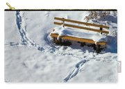 Snowy Foot Prints Around Snow Covered Park Bench Carry-all Pouch
