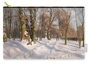 Snowy Forest Road In Sunlight Carry-all Pouch