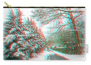 Snowy Lane - Use Red/cyan Filtered 3d Glasses Carry-all Pouch