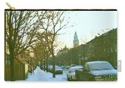 Snowy Montreal Winters City Scene Paintings Verdun Memories Church Across The Street Carry-all Pouch