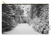 Snowy Mountain Road - Black And White Carry-all Pouch
