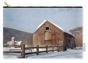 Snowy New England Barns Square Carry-all Pouch