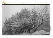 Snowy Trees In Black And White Carry-all Pouch
