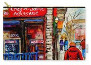 Snowy Walk By The Tea Room And Pastry Shop Winter Street Montreal Art Carole Spandau  Carry-all Pouch