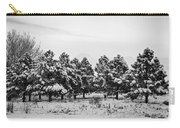 Snowy Winter Pine Trees In Black And White Carry-all Pouch