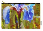 Alaskan Wild Iris And Blue Butterfly Flower Painting Carry-all Pouch