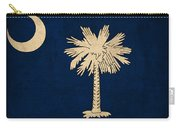 South Carolina State Flag Art On Worn Canvas Carry-all Pouch