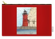 South Haven Lighthouse Mi Nautical Chart Map Art Cathy Peek Carry-all Pouch