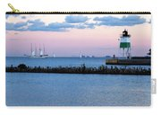 Southeast Guidewall Lighthouse At Sunset And Tall Ship Windy Carry-all Pouch