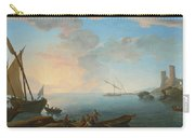 Southern Mediterranean Seascape With Boats And Figures At Sunset Carry-all Pouch