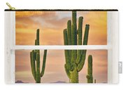Southwest Desert Sunset White Rustic Distressed Window Art Carry-all Pouch