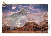 Southwest Navajo Rock House And Lightning Strikes Hdr Carry-all Pouch