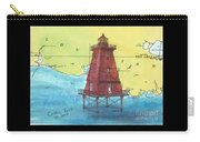 Southwest Reef Lighthouse La Nautical Chart Map Art Cathy Peek Carry-all Pouch