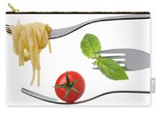 Spaghetti Basil And Tomato On Forks Isolated Carry-all Pouch