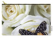 Speckled Butterfly On White Rose Carry-all Pouch