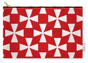 Spice Twirl- Red And White Pattern Carry-all Pouch by Linda Woods