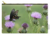 Spicebush Swallowtail Butterfly On Bull Thistle Wildflowers Carry-all Pouch