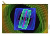 Spiral Vortex Green And Blue Fractal Flame Carry-all Pouch