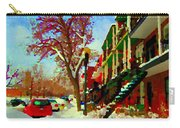 Splendor And Colors Of Quebec Winters Verdun Montreal Urban Street Scene Carole Spandau Carry-all Pouch