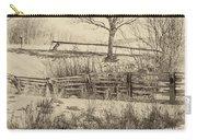 Split Rail Winter Sepia Carry-all Pouch