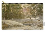 Sportsmen In A Winter Forest Carry-all Pouch