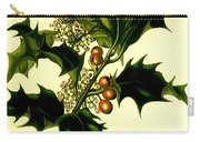 Sprig Of Holly With Berries And Flowers Vintage Poster Carry-all Pouch