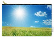 Spring Field With Flowers And Blue Sky Carry-all Pouch