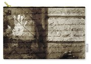 spring water memories - A letter and hand print composition beside a vintage griffin Carry-all Pouch