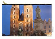 St Mary Basilica And Adam Mickiewicz Monument At Night In Krakow Carry-all Pouch