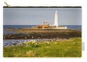 St Marys Lighthouse With Daffodils Carry-all Pouch