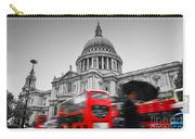 St Pauls Cathedral In London Uk Red Buses In Motion Carry-all Pouch