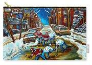 St Urbain Street Boys Playing Hockey Carry-all Pouch by Carole Spandau