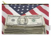Stack Of Money On American Flag  Carry-all Pouch