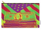 Stack Of Money On American Flag Pop Art Carry-all Pouch