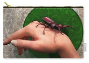 Stag Beetle On Hand Carry-all Pouch by Daniel Eskridge
