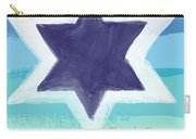 Star Of David In Blue - Thank You Card Carry-all Pouch by Linda Woods