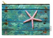 Seashore Peeling Paint - Starfish And Turquoise Carry-all Pouch