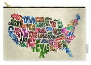 States Of United States Typographic Map - Parchment Style Carry-all Pouch