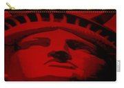 Statue Of Liberty In Red Carry-all Pouch by Rob Hans