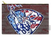 Statue Of Liberty On Stars And Stripes Flag Wood Background Recycled Vintage License Plate Art Carry-all Pouch