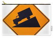 Steep Grade Hill Ahead Warning Road Sign On White Carry-all Pouch
