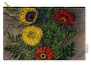 Still Life Ceramic Vase With Two Gerbera Daisy And Two Sunflowers Carry-all Pouch