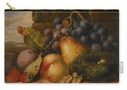 Still Life Grapes Pares Birds Nest Carry-all Pouch by Edward Ladell