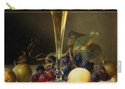 Still Life With A Glass Of Champagne Carry-all Pouch by Johann Wilhelm Preyer