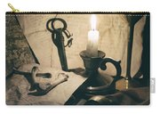 Still Life With Bones Rusty Key Wine Glass Lit Candle And Papers Carry-all Pouch