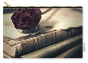Still Life With Books And Dry Red Rose Carry-all Pouch