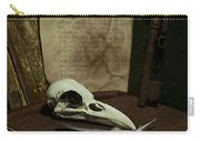 Still Life With Old Books Rusty Key Bird Skull And Feathers Carry-all Pouch