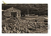 Roman Port Of Sa Nitja In Minorca - Stone And Sea Sephia Version Carry-all Pouch