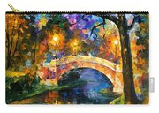 Stone Bridge - Palette Knife Oil Painting On Canvas By Leonid Afremov Carry-all Pouch